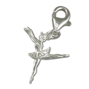 Sterling silver clip on small Ballerina charm